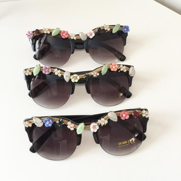 Flower and Stones Wayfarer Sunglasses