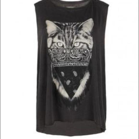 8ad9640ea All Saints Tops - All saints cat graphic tee tank shirt