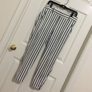 Loft navy and white striped ankle pants