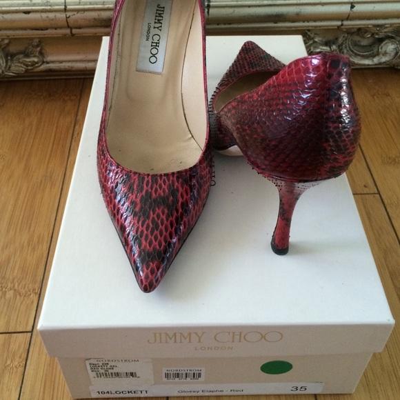 7fbdef9416 Jimmy Choo Shoes - Jimmy choo red snake skin siZe 35