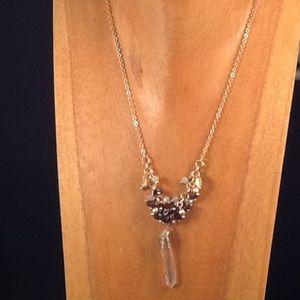 Garnet, Opal Bead Cluster with Cut Crystal Pendant