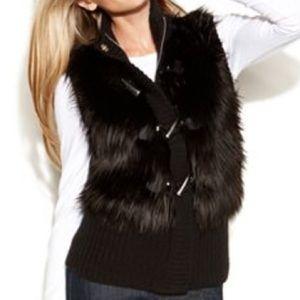 Michael Kors Fur Toggle Black Vest