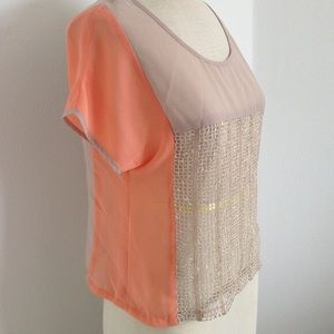 NWT sheer color block beige top