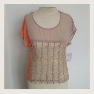 sheer color block beige top