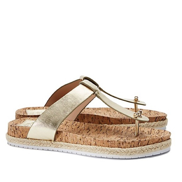 e7277151c NIB Tory Burch Cork Footbed Flat Thong Sandal Gold