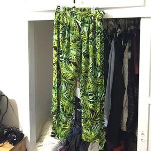 Forever 21 Tropical Palm Tree Leaf Harem Pants