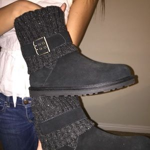 UGG Shoes - BRAND NEW NEVER WORN short black uggs with buckle