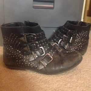 Worn in studded boots!