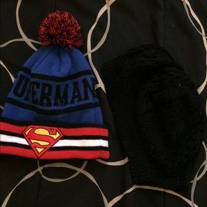 Superman beanie And Black Knit beanie bundle