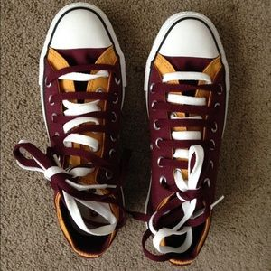 Maroon and Gold Low Top Converse Sneakers