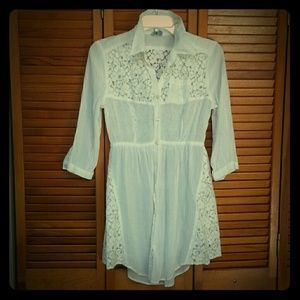 Free People White Lace Button Up Dress/Top