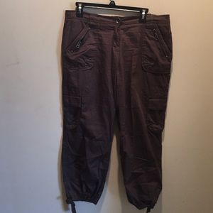 Brown cargo ankle pants