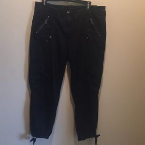 Black cargo ankle pants