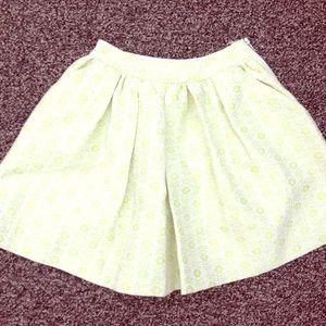 Lime yellow flared mini skirt