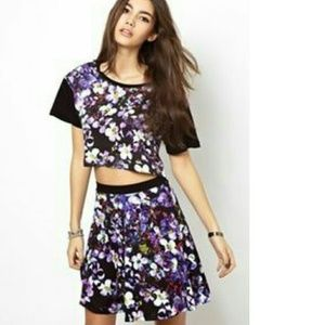 ASOS Textile Federation Skater Skirt in Purple