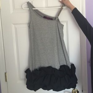Stud One Shoulder Lurex Party Dress