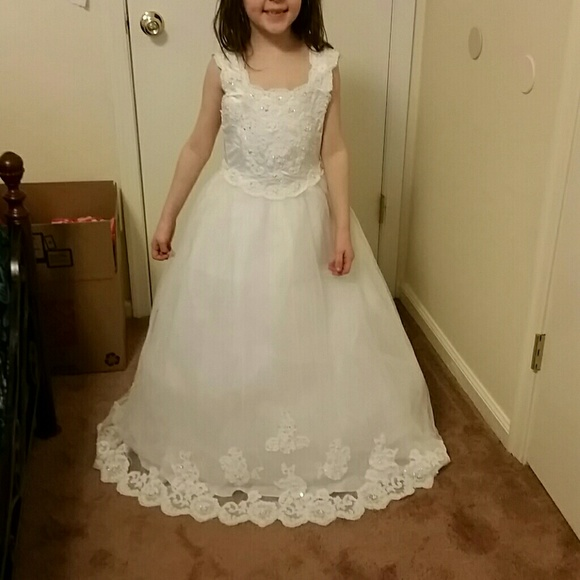 Michaelangelo by davids bridal dresses white peagent flower girl white peagent flower girl dress gown w train mightylinksfo