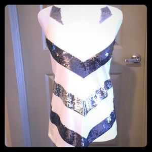 Julie Brown white racerback top with sequins