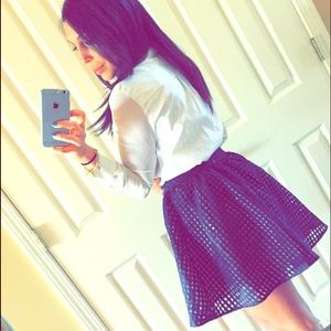 PM Editor Pick Navy Blue Bubble Skater Skirt