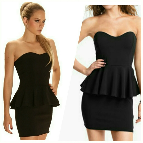 Lush - Lush Strapless Peplum Dress (black) from Katrina's closet ...