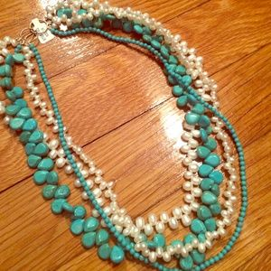 Pearl and Turquoise stone necklace 