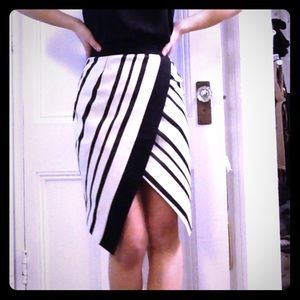 Black and cream striped skirt
