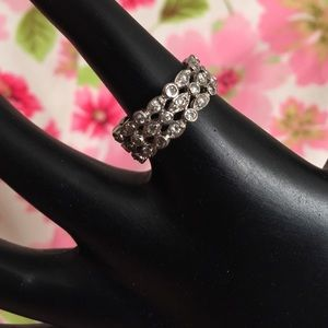 3-Tier Sterling Silver & CZ Eternity Band
