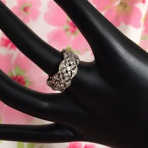 CZ & Sterling Silver Filigree Eternity Band