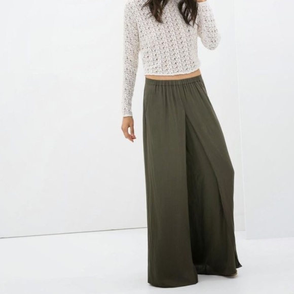 34% off Zara Pants - Zara wide leg palazzo split front pants Navy ...