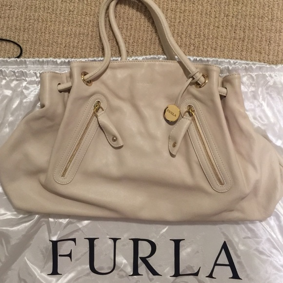 63% off Furla Handbags - Authentic Furla off white leather handbag ...