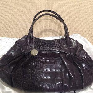 Furla Bags - Authentic Furla eggplant croc embossed leather bag