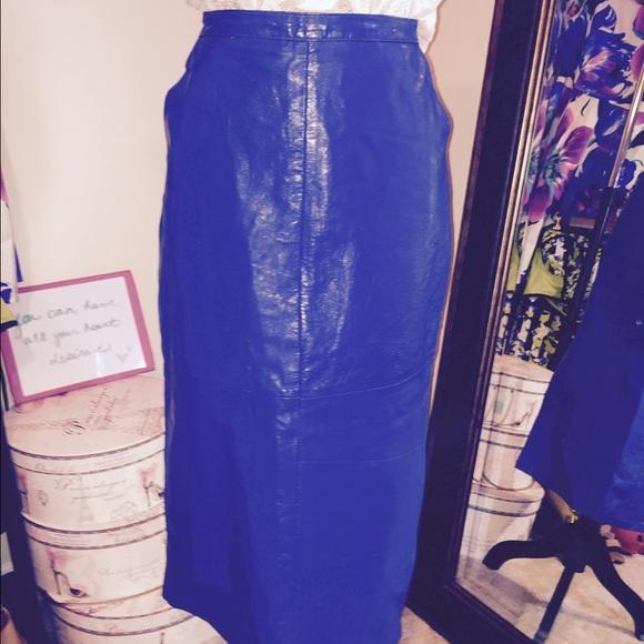 Skirts - 100% leather blue midi skirt