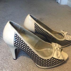 Polkadot bow tan and brown heels