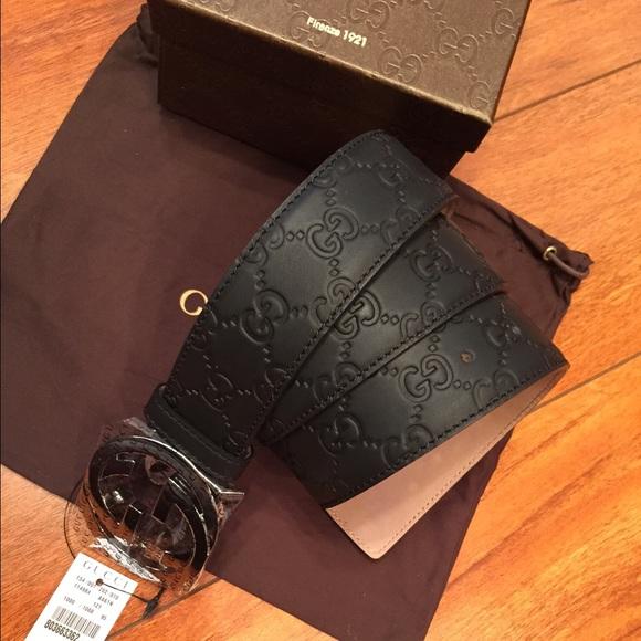 2cc0ba56543 Gucci black belt  Guccissima size 95cm waist 32 34
