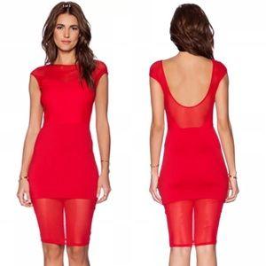 Donna Mizani Dresses & Skirts - Donna Mizani Red Sweetheart Mesh Bodycon Dress XS