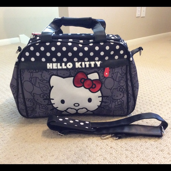 82d84a5c470 Hello kitty black polka dot suitcase travel bag. M 551da66b01985e5c62004704
