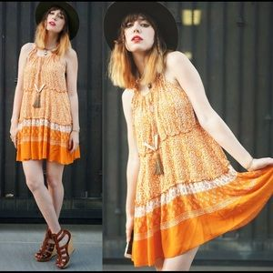 Dresses & Skirts - Gentle fawn dress bohemian strap orange dress xs