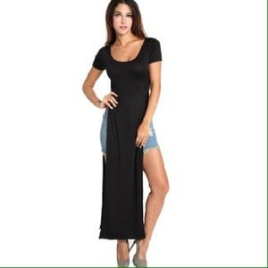 Dresses & Skirts - Women Maxi Double Short Sleeve Split Skirt Dress