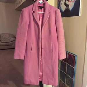 Long fuchsia wool coat