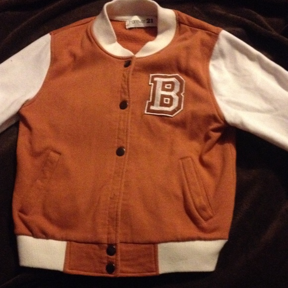 Forever 21 - B letterman jacket Forever 21 Small brown & white ...
