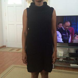 black turtle neck sleeveless sweater dress