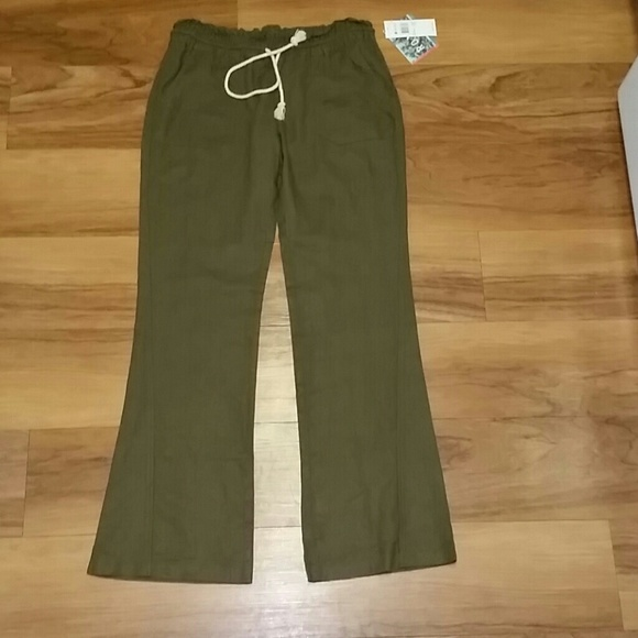 38% off Roxy Pants - Roxy Olive Green Linen Pants from Jillian's ...