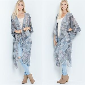 "LOWEST ""Peace & Love"" Printed Maxi Duster Cardigan"