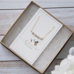 Blue & Gold Beaded Bar Necklace