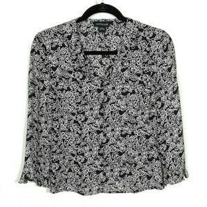 Silk ruffle rose print blouse