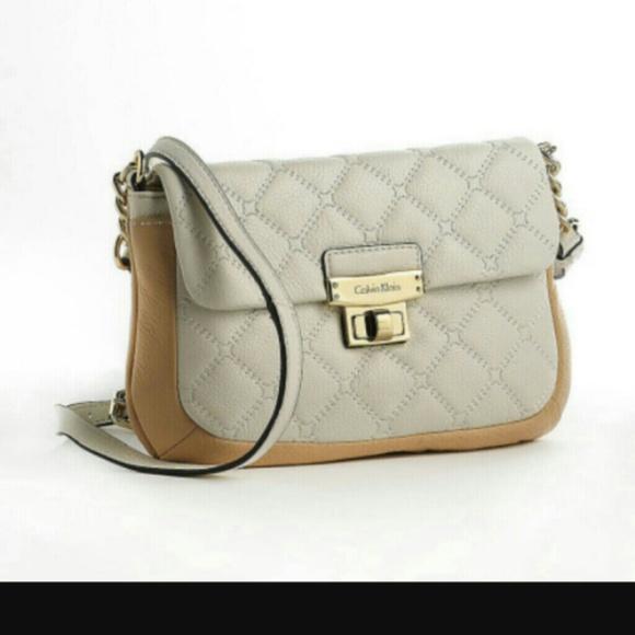 53% off Calvin Klein Handbags - Calvin Klein Beige Quilted Leather ... : calvin klein quilted leather crossbody bag - Adamdwight.com