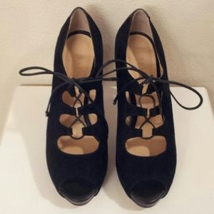 Gorgeous leather lace up peeptoe 'shoeties'