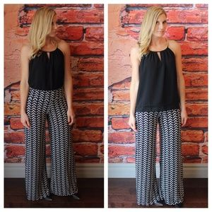 Aztec arrow black and white palazzo pants