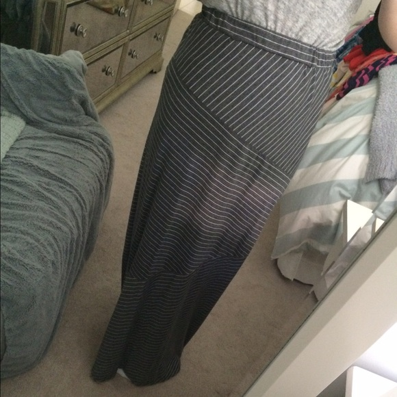 50 dresses skirts striped grey and white maxi