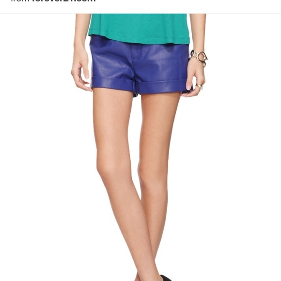 73% off Forever 21 Pants - Forever21 blue leather shorts from ...